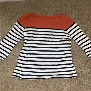 Loft black and white stripe shirt